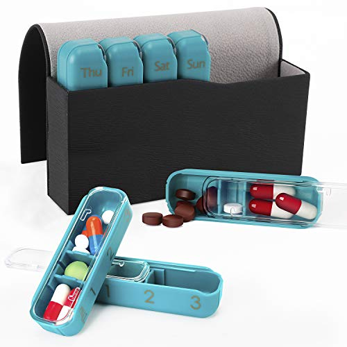 7 Day Pill Box Organiser,WJKTCMT Weekly Pill Box 21 Adjustable Compartments,Daily Pill Box Organiser 7 Day Portable Travel Organizer with PU Leather Case,Compartments to Hold Vitamins Supplements.