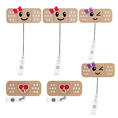Gobesty Enfermera Badge Reel Holder Nombre, 6 piezas Porta-carrete de insignia de enfermera Vendaje de insignia retráctil Lindo carrete de insignia de fieltro con pinza de cocodrilo enfermeras