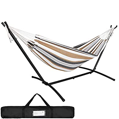 SUPER DEAL Portable 2-Person Brazilian Hammock with 9FT Metal Stand - Weather Resistant Double Hammock and Stand - Carrying Case Included, 450LBS Capacity, 6 Optional Hook Positions