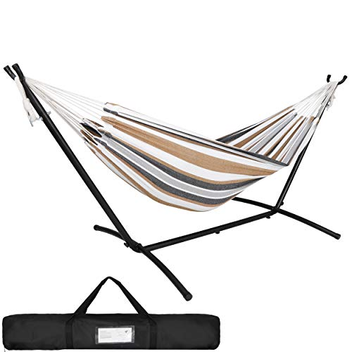 SUPER DEAL Portable 2-Person Brazilian Hammock with 9FT Steel Stand - Weather Resistant Double Hammock and Stand with Carrying Case, 450LBS Capacity, 6 Optional Hook Positions (Tan Stripe)