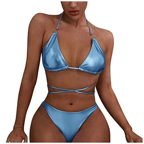 fgsdd Traje de baño de dos piezas para mujer, sexy, para playa, traje de baño azul L