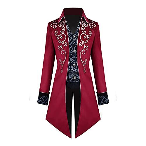 2021 Disfraz de Halloween para hombre, estilo steampunk, gótico, chaqueta para hombre, vintage,...
