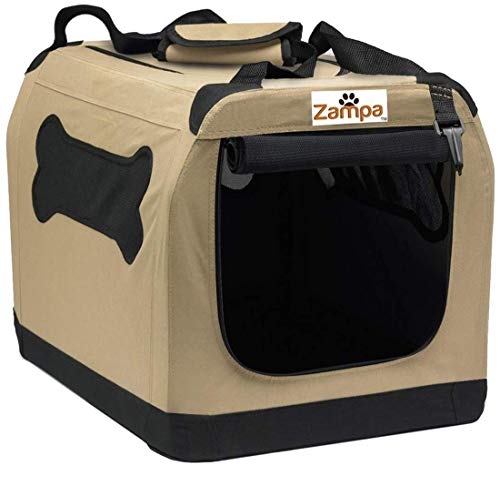 "Zampa Pet Portable Crate – Great for Travel, Home and Outdoor – for Dog's, Cat's and Puppies – Comes with A Carrying Case ((24"" x 16.6"" x 16.5""), Beige/Black) Categories"
