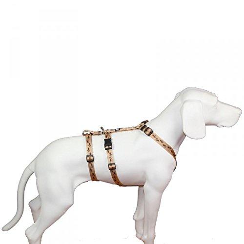 No Exit ausbruchsicheres Hundegeschirr für Angsthund, Sicherheitsgeschirr für Pflegehunde , Panikgeschirr, beige mit braunen Pfötchen, Bauchumfang 35-50 cm, 15 mm Bandbreite