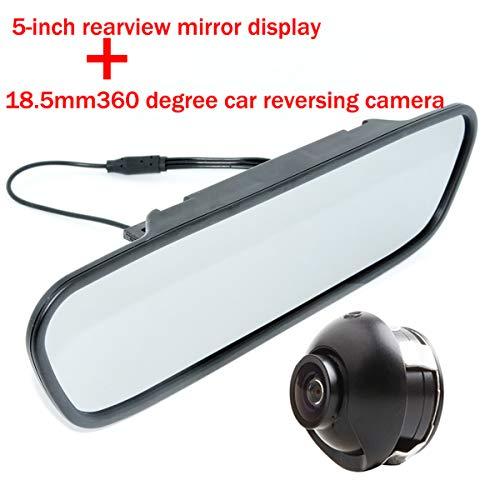 HD 360 CCD Parking Camera Camera Reverse Backup 2 Entrée Vidéo Connecter 4 Capteur Capteur de Stationnement avec 5 pouces Couleur TFT LCD HD Rétroviseur De Voiture Écran Moniteur De Voiture Arrière