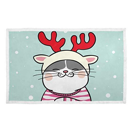 Hengpai Manta de gato con estampado cálido para mascotas con suéter en funda de cama de nieve