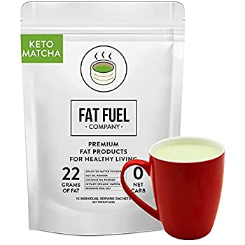 Fat Fuel Instant Keto Matcha Tea – a Complete Keto-Friendly Meal Replacement with MCT Oil Coconut Oil and Grass Fed Butter – Low Carb Gluten-free and Organic  15 Packets