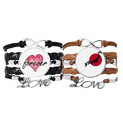 Bestchong Juego doble de pulsera con diseño de mapa de emblema japonés para siempre