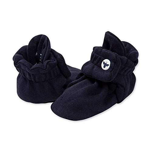 Burt's Bees Baby Unisex Baby Booties, Organic Cotton Adjustable Infant Shoes, Navy Blue, 3-6 Months