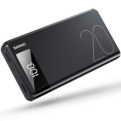 BANNIO 20000 mAh externe accu, hoge capaciteit powerbank, USB C & Micro 2 ingangen en 2 uitgangen USB-poort powerbank met LCD-digitaal display voor iPhone, iPad, Samsung Galaxy en nog veel meer, zwart, mat