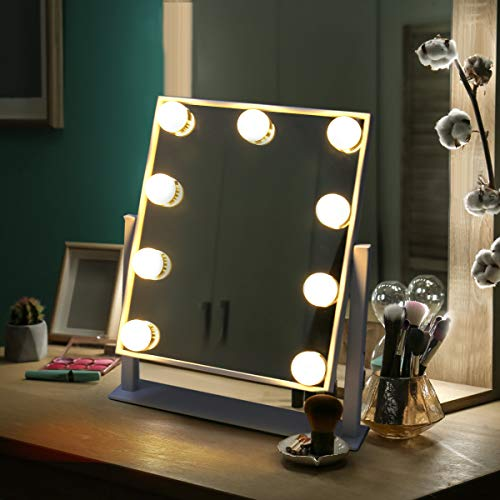Vanity Mirror with Lights,Plug in Light-up Professional Mirror | Removable 10x Magnification | 3 Color Lighting Modes | Dimmable Brightness 360° Rotating for Bedroom Dressing Table (9 Bulbs White)