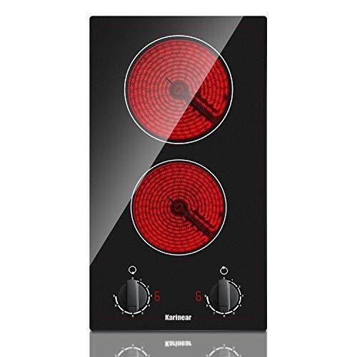 Karinear Integrado Cerámico Placa, 30cm, 2 zonas Eléctrica Cocción Vidrio y Cerámica Vitrocerámica, 3000 W, Seguridad de apagado automático