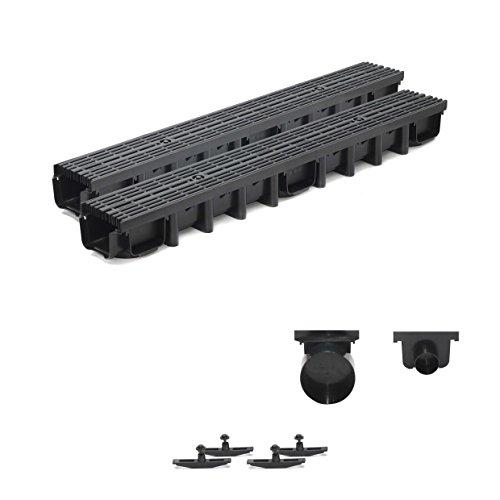 2m Entwässerungsrinne für modulares System A15 98mm, komplett Stegrost Kunststoff, Schwarz Line