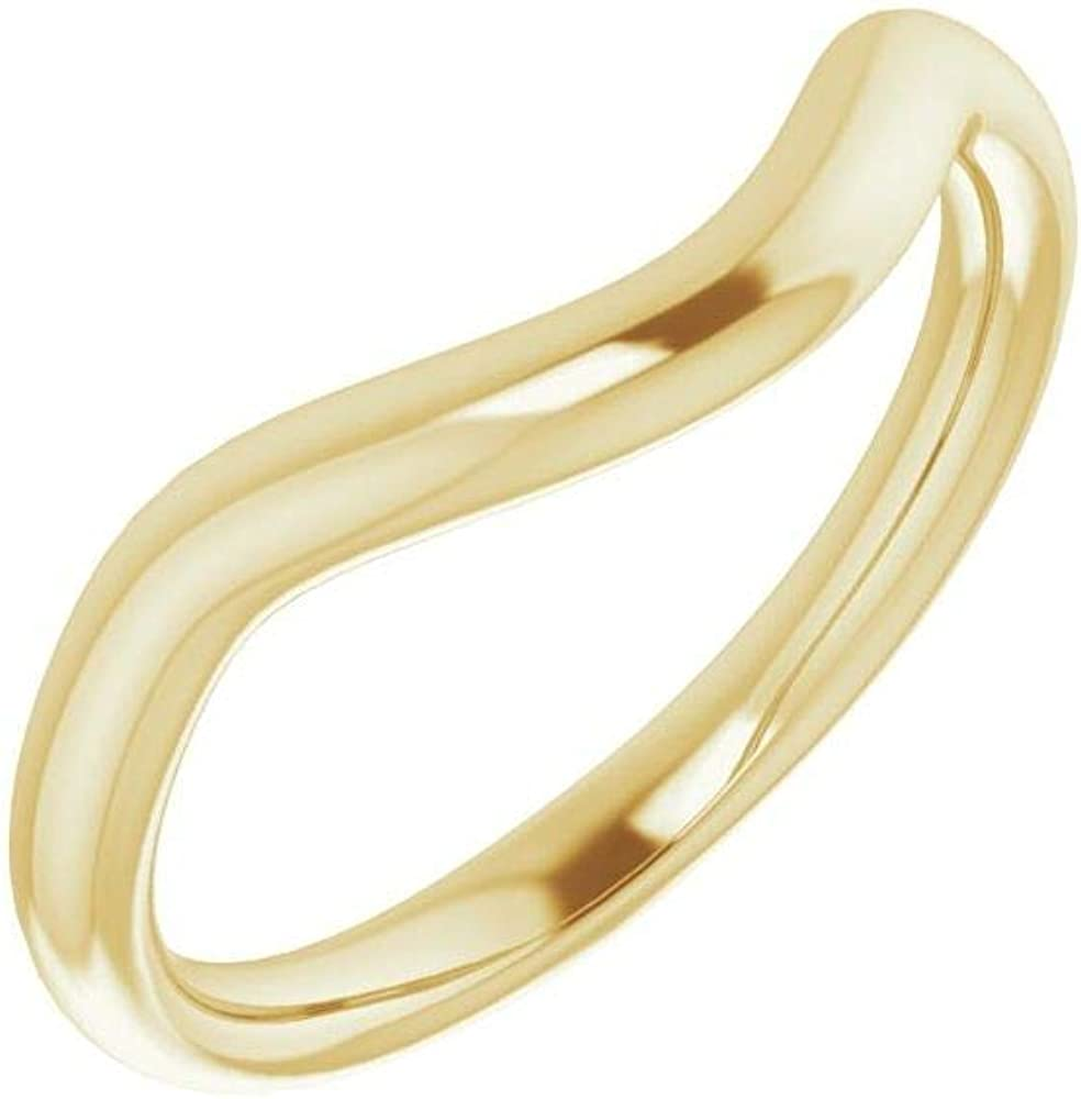 Solid 18K Yellow Gold Curved Notched Wedding Band for 6 x 6mm Cushion Ring Guard Enhancer - Size 7