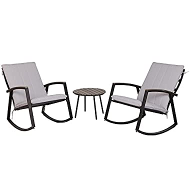 LCH Outdoor 3-Piece Bistro Sets Patio Furniture Rocking Chair Metal Black Frame with Grey Cushion Conversation Sets -Two Chairs with Round Wood-grain Color Table for Porch, Garden, Backyard or Pool