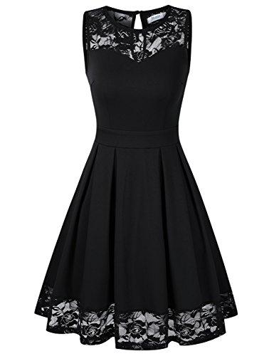 KOJOOIN Damen Elegant Kleider Spitzenkleid Ohne Arm Cocktailkleid Knielang Rockabilly Kleid Schwarz L