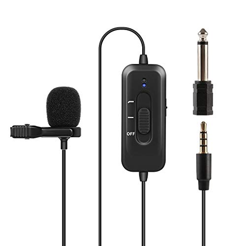Professional Lavalier Microphone,KinCam Clip-on Lapel Omnidirectional Condenser Mic with Noise Reduction & 8m Cable for Podcast,Recording,DSLR,Camera,PC,iPhone Android Interview,YouTube