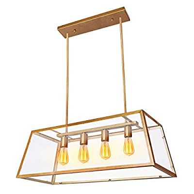 Paragon Home 4-Light Kitchen Island Pendant Lighting with Clear Glass Panels, Dining Room Lighting Fixtures, Modern Industrial Chandelier, E26 Base (Bulbs Not Included)