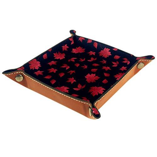 Bandeja de Cuero - Organizador - Otoño Rojo Arce Hojas Azul Oscuro - Práctica Caja de Almacenamiento para Carteras,Relojes,llaves,Monedas,Teléfonos Celulares y Equipos de Oficina