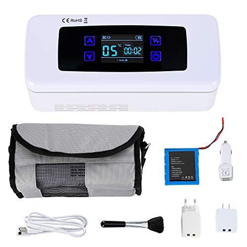 CGOLDENWALL Refrigerador de Insulina de Tamaño 175x56x26mm, Nevera de Medicamiento Portátil con Temperatura Constante: 2-8℃ de 15 Horas, con Sistema de Alarma & Pantalla LED, para Coche, Hogar, Viaje