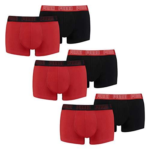 PUMA Herren Basic Trunk Boxershort 6er Pack red / Black (002) Größe:M