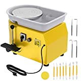 ANBULL 350w Electric Pottery Wheel Machine 25cm Removable ABS Basin,Pottery Ceramic Clay Work Forming Machine with Adjustable Lever and Feet Lever Pedal (Yellow)