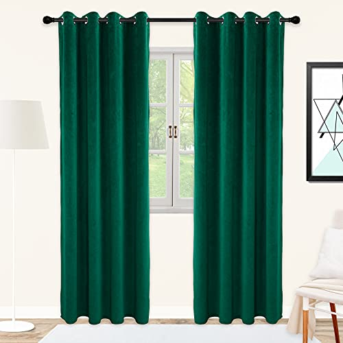 SNITIE Emerald Green Velvet Curtains with Grommet, Soft Thermal Insualted Noise Reducing Thick Light Filtering Velvet Curtain Drapes for Living Room and Bedroom, Set of 2 Panels, 52 x 84 Inch Long