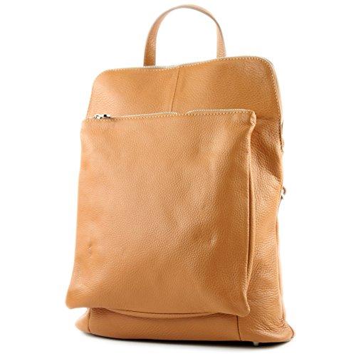 modamoda de - T141 - ital Damen Rucksacktasche 3in1 aus Leder, Farbe:Camel