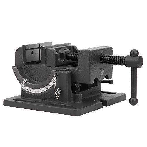 Tornillo de banco, tornillo de banco de hierro fundido de 3 pulgadas giratorio 360 ° con plataforma giratoria para banco de trabajo con escala de precisión y diseño vertical inclinado