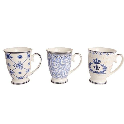 Bechertassen Tassen, DELFT STYLE, 3 er Set, Kaffeebecher, blau weiß