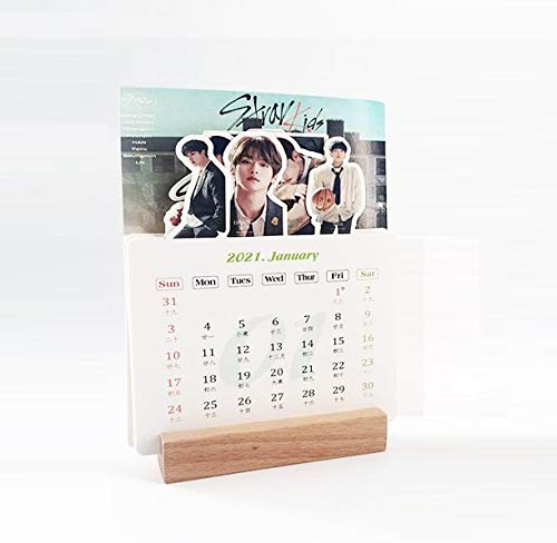 STRAYKIDS 2021 Kalender Schreibtisch Holzhalter Papier Kalender KPOP Fans Collection SB20111505