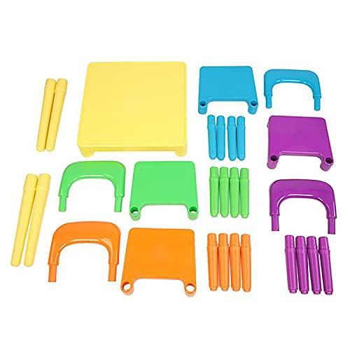 Juego de 5 sillas y mesa de actividades para niños, silla de actividad para niños pequeños,ideal para leer,accesorios para muebles para niños pequeños (4 asientos para niños con 1 juego de mesa)