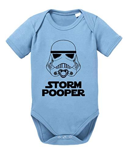 Tee Kiki Storm Pooper Sprüche Baby Strampler Bio Baumwolle Body Jungen & Mädchen 0-12 Monate, Größe:74/7-9 Monate, Farbe:Babyblau