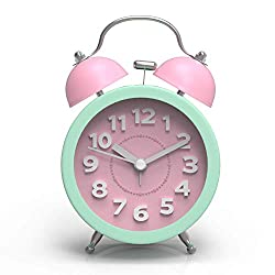 ARTCHE 3 Mini Classic Analog Twin Bell Alarm Clock for Heavy Sleepers with Non-Ticking, Backlight,Large Number ,Battery Operated for Bedroom,Office (Pink&Green)