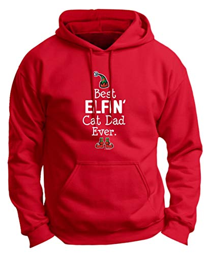 Father of Cats Dad Cat Christmas Outfit Christmas Cat Gifts Best Elfin Cat Dad Ever Cat Dad Premium Hoodie Sweatshirt Large DpRed