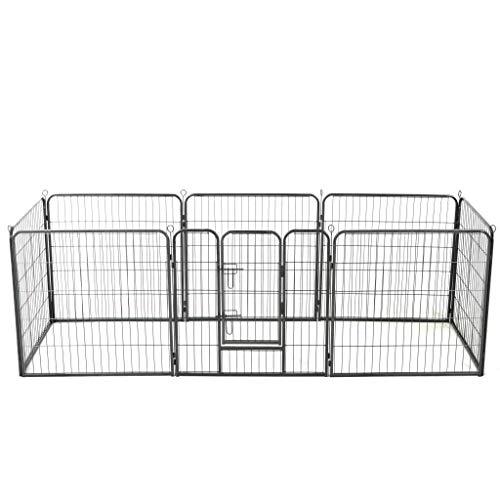 UnfadeMemory Hunde-Laufgitter Stahl Laufstall mit Flügeltür Freigehege Welpenlaufstall Welpenzaun für Kleintiere Hunde Kaninchen Schwarz Freie Kombination (80 x 80 cm 8 Paneele)