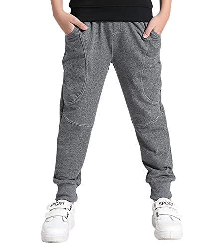 ALISISTER Jungen Jogginghose Baumwolle Freizeithose Kinder Sweathosen Beiläufig Sporthose Grau mit Taschen Elastische Taille