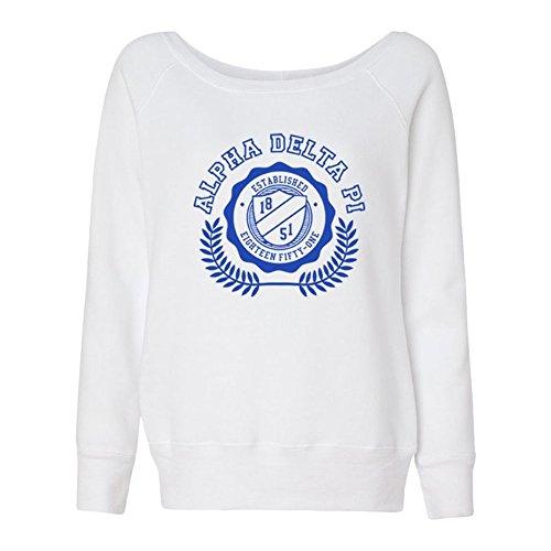 Alpha Delta Pi Collegiate Fleece Wide Neck Sweatshirt Medium White