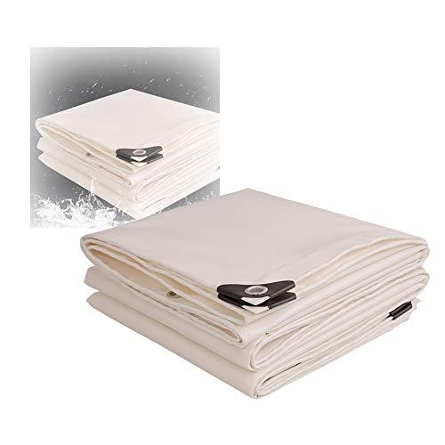 BAIYING Abdeckplane Holz Außenverkleidung Dach Schneeschutz Schwere Plane Notfall-Regenschutz Mit Metallknopfloch PVC Aufhängbar, 13 Größen, Anpassbar (Color : White, Size : 5X5M)