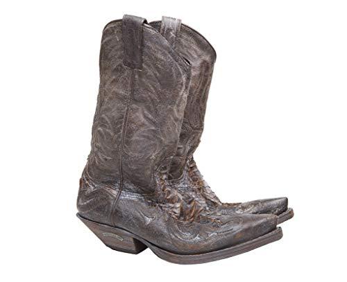 Sendra Boots Westernlaarzen van leer en python buik effect tweede hand 3241 Rabe kleur bruin maat 41