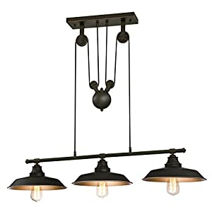 Westinghouse Lighting 6332500 Iron Hill Three-Light Indoor Island Pulley Pendant, Finish with Highlights and Metallic Interior, 3, Oil Rubbed Bronze/Bronze