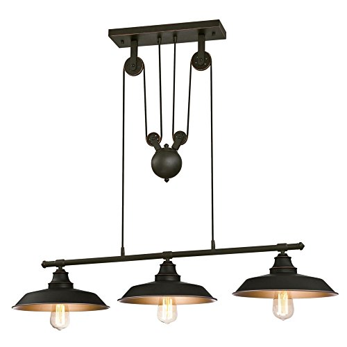 Westinghouse Lighting 6332500 Iron Hill Three-Light Indoor Island Pulley Pendant, Finish with...