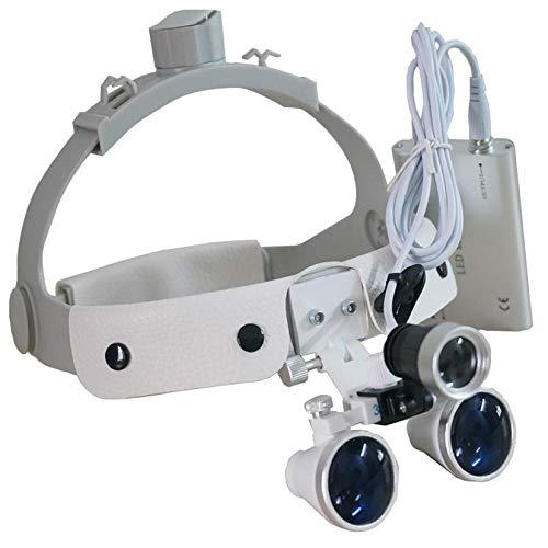 Lupas iluminadas montadas en la Cabeza, 2.5X / 3.5X Médico Quirúrgico Dental Gafas Lupas, Indicado para odontología, Cardiovascular, oftalmología, lupas de Gran Aumento con luz