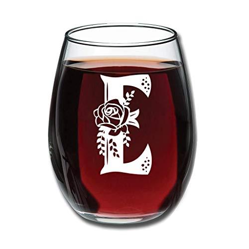 Bohohobo Libbey Weinglas ohne Stiel, Buchstabe E, 350 ml, Weinglas für Rot- und Weißwein, spülmaschinenfest, herzwärmendes Geschenk für lustige Weißweine