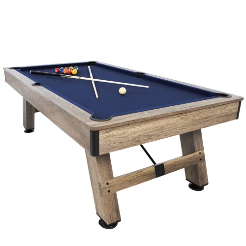 """American Legend Brookdale 90"""" Billiard Table with Rustic Wood Finish and Navy Blue Cloth"""