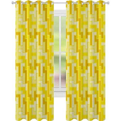 Cortinas de ventana que reducen el ruido, patrón cuadrado de azulejos geométricos de los años 60 y 70, 52 x 108, cortinas opacas para comedor, blanco amarillo y merigold