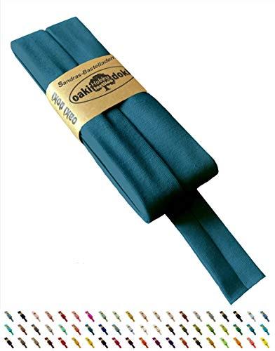 Sandras Bastelladen Oaki Doki Schrägband/Einfassband Tricot de Luxe Jersey gefalzt 3m x 20mm 211-Petrol