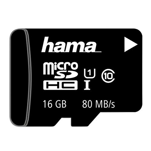 Hama microSD | microSDHC | microSDXC Karte 16GB 80MB/s Übertragungsgeschwindigkeit Class 10 microSD Speicherkarte im Mini-Format Mini SD z. B. für Android Handy, Smartphone, Tablet, Nintendo UHS-I