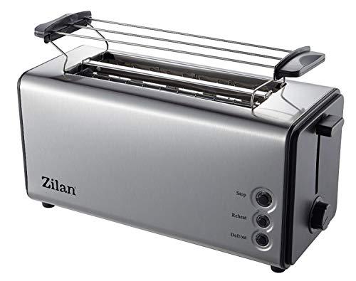 Toaster-Langschlitz-4-Scheiben-Toastautomat-XXL-Toaster-1300-Watt-5-Stufen-Braeuneregler-Broetchenaufsatz-Auftau-Funktion-Kruemmelschublade