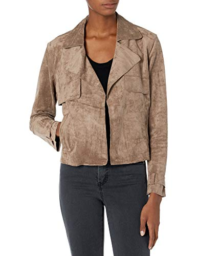 Blank NYC Faux Suede Cropped Open Trench Jacket Seal The Deal XS